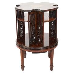 Antique 19th Century Sheraton Revival Inlaid Mahogany Revolving Bookcase
