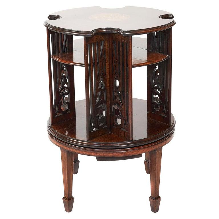 Antique 19th Century Sheraton Revival Inlaid Mahogany Revolving Bookcase For Sale
