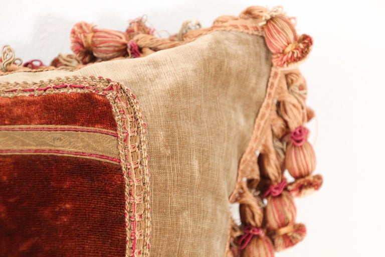 Antique 19th Century Silk Velvet Textile Fragment Framed into a Pillow In Fair Condition For Sale In North Hollywood, CA