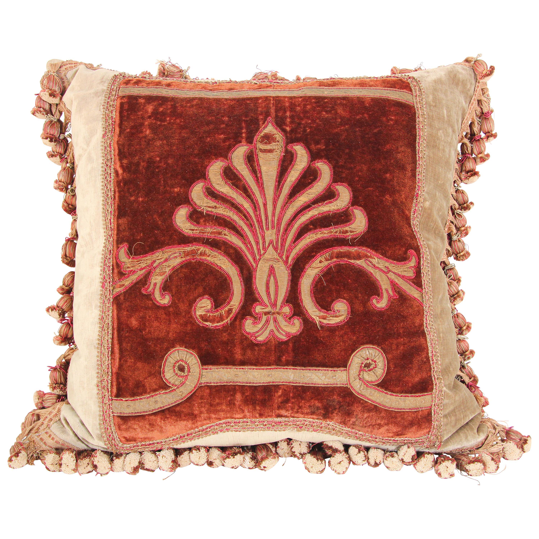 Antique 19th Century Silk Velvet Textile Fragment Framed into a Pillow
