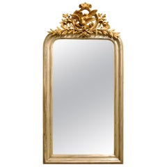 Antique 19th-Century Silver Leaf Gilt French Louis Philippe Mirror with Crest