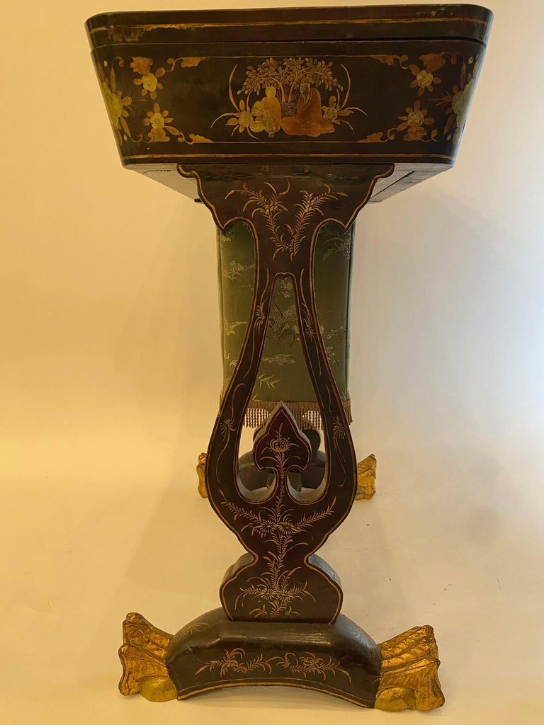 Antique 19th Century Small Chinese Lacquer Sewing Table For Sale 8