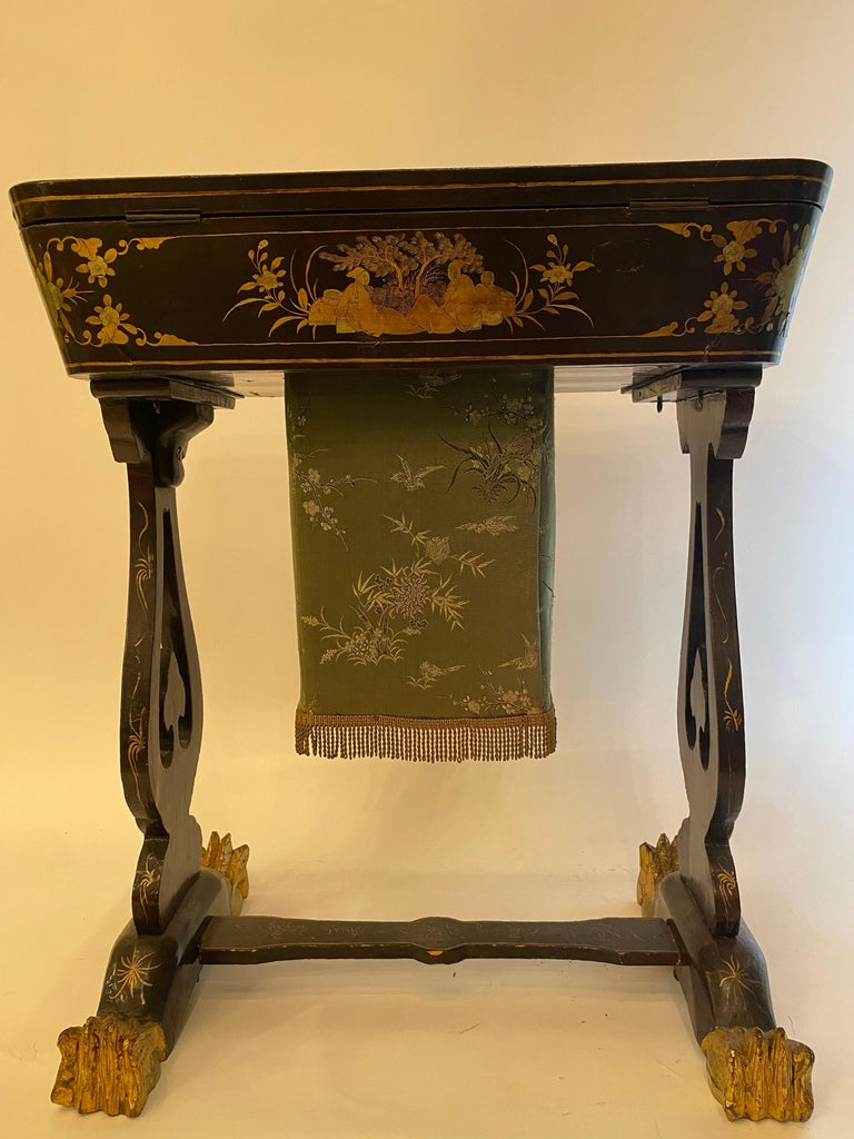 Antique 19th Century Small Chinese Lacquer Sewing Table For Sale 11