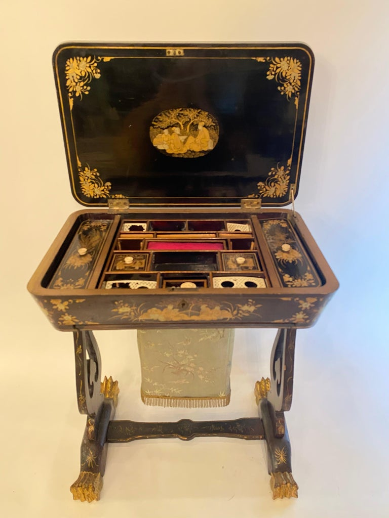 Qing Antique 19th Century Small Chinese Lacquer Sewing Table For Sale