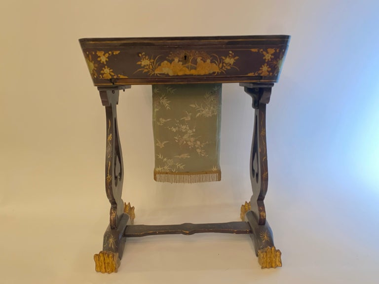 Hand-Painted Antique 19th Century Small Chinese Lacquer Sewing Table For Sale