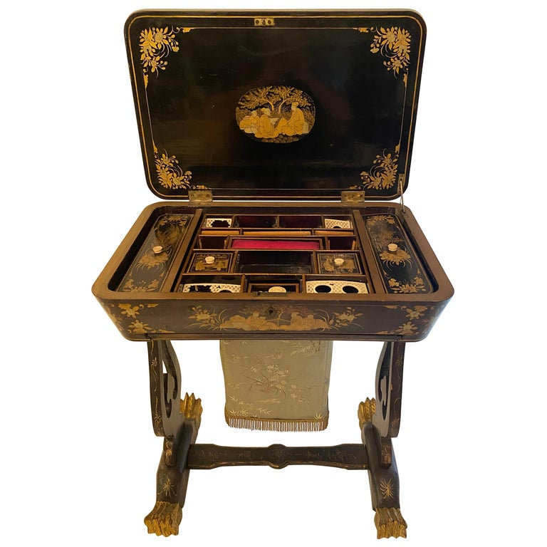 Antique 19th Century Small Chinese Lacquer Sewing Table For Sale