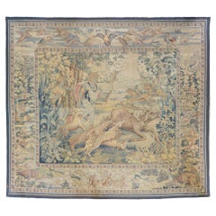 Antique 19th Century Square French Aubusson Hunting Tapestry