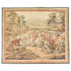 Antique 19th Century Square French Aubusson Hunting Tapestry Signed 'Aubusson'