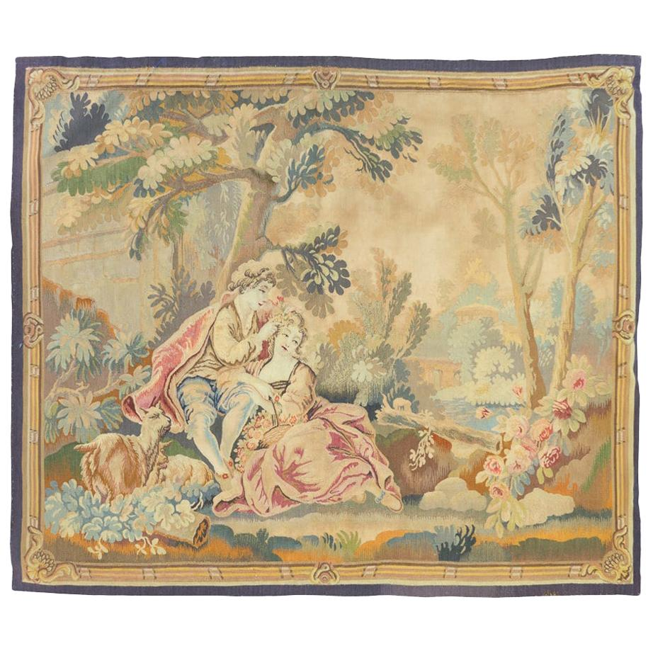Antique 19th Century Square French Aubusson Tapestry