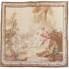Antique 19th Century Square French Aubusson Tapestry with Lovers