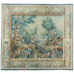 Antique 19th Century Square Green Floral French Aubusson Tapestry