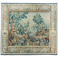 Antique 19th Century Square Green Floral French Verdure Tapestry