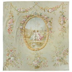 Antique 19th Century Square Ornate Floral French Aubusson Tapestry with Cupid