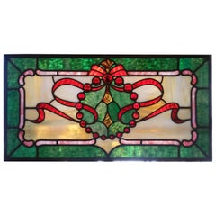 Antique 19th Century Stained Glass Window, Vibrant Colors with Jewels