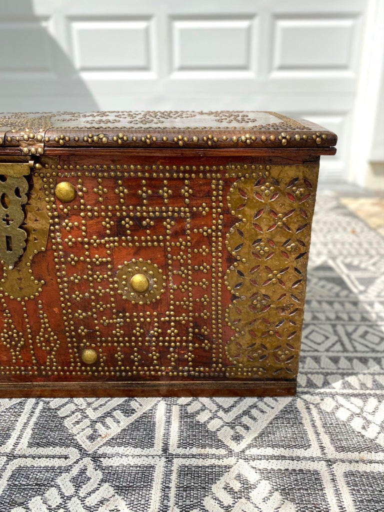 Antique 19th Century Teak Wood and Brass Studded Zanzibar Chest, c. 1850's For Sale 3