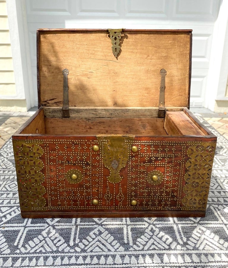 Antique 19th Century Teak Wood and Brass Studded Zanzibar Chest, c. 1850's For Sale 4