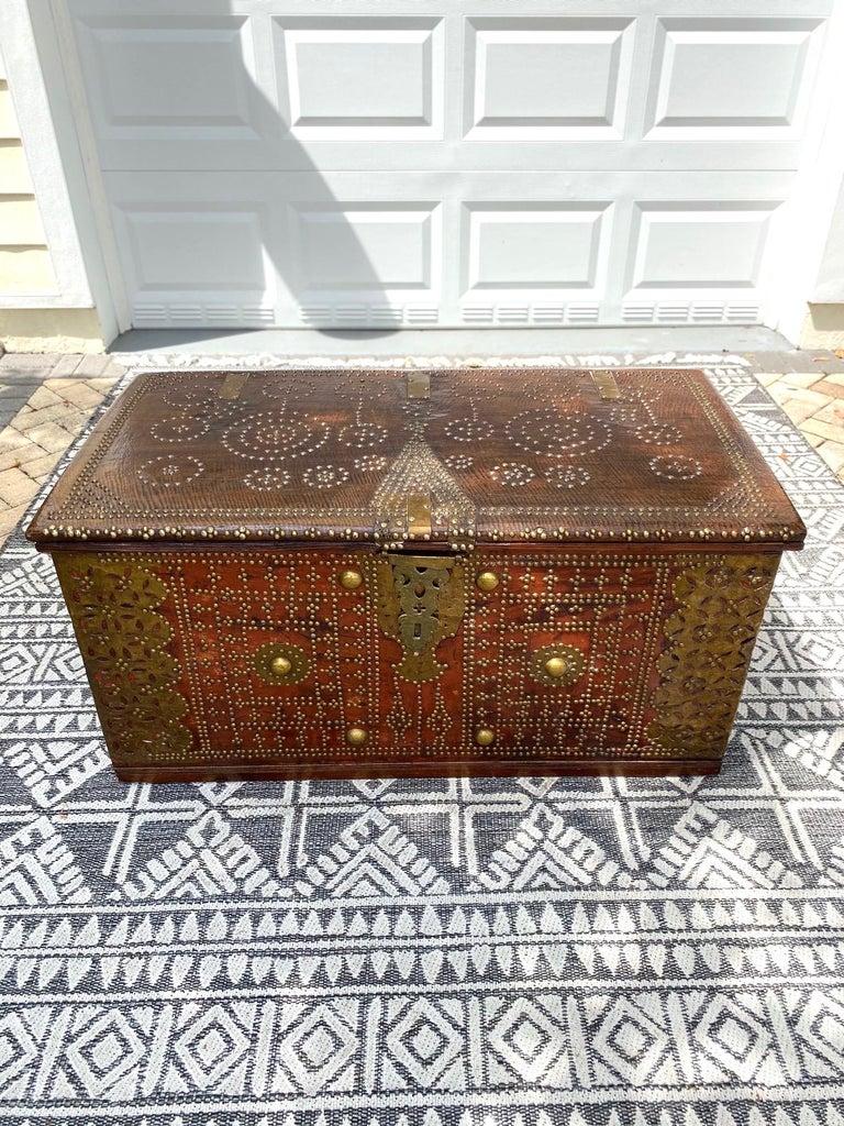 Antique 19th Century Teak Wood and Brass Studded Zanzibar Chest, c. 1850's For Sale 6