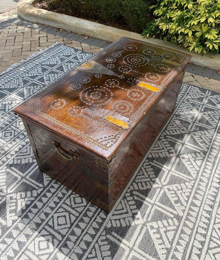 Antique 19th Century Teak Wood and Brass Studded Zanzibar Chest, c. 1850's For Sale 8