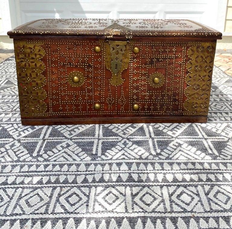 Tribal Antique 19th Century Teak Wood and Brass Studded Zanzibar Chest, c. 1850's For Sale