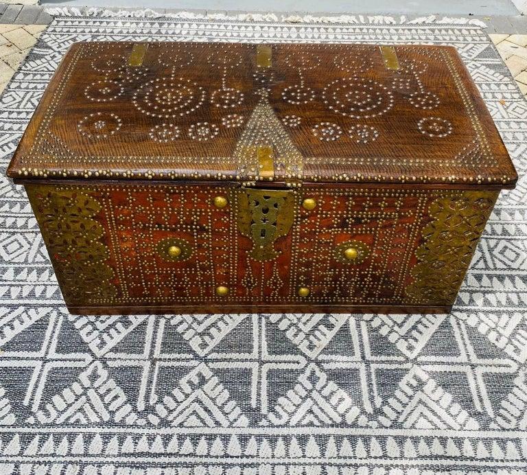 Zanzibari Antique 19th Century Teak Wood and Brass Studded Zanzibar Chest, c. 1850's For Sale