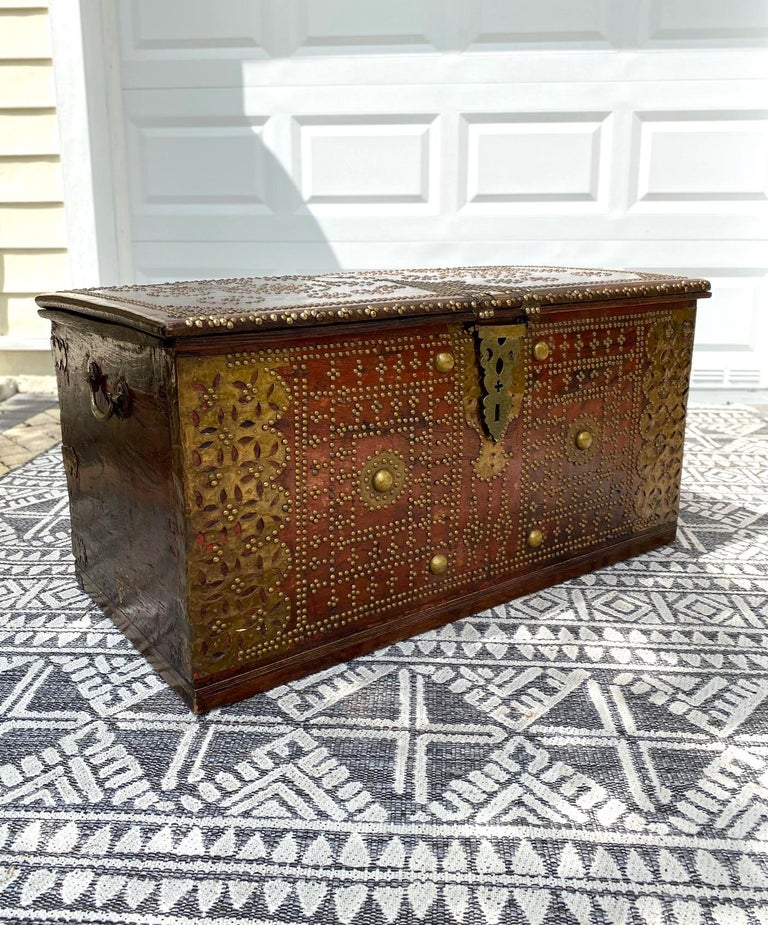 Hand-Carved Antique 19th Century Teak Wood and Brass Studded Zanzibar Chest, c. 1850's For Sale