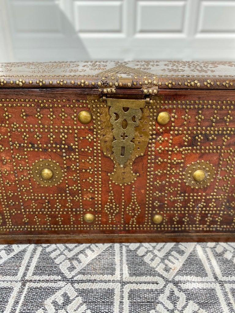 Antique 19th Century Teak Wood and Brass Studded Zanzibar Chest, c. 1850's For Sale 2