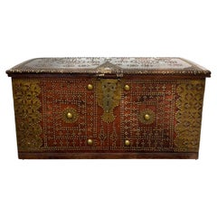 Antique 19th Century Teak Wood and Brass Studded Zanzibar Chest, c. 1850's