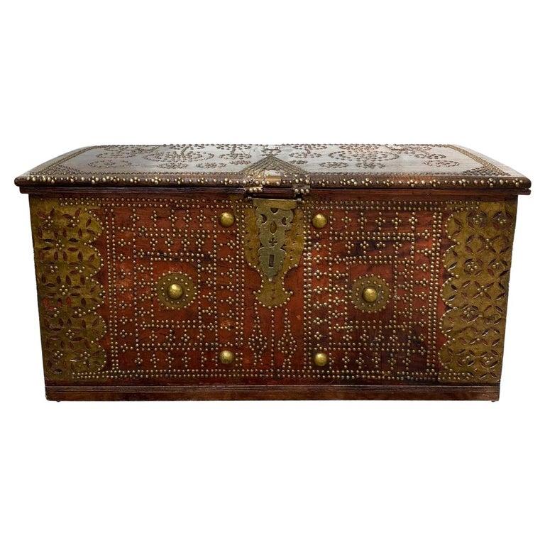 Antique 19th Century Teak Wood and Brass Studded Zanzibar Chest, c. 1850's For Sale