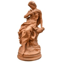 Antique Terracotta Sculpture of Young Woman with Dove, signed A. Foretay