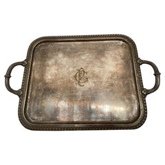 Antique 19th Century Tray in Solid Silver Gilt, France, 1870's