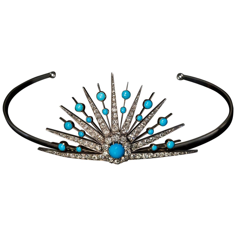 Antique 19th Century Turquoise Diamond Sunburst Tiara