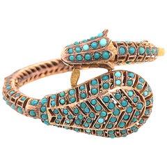 Antique 19th Century Turquoise Gold Snake Bangle