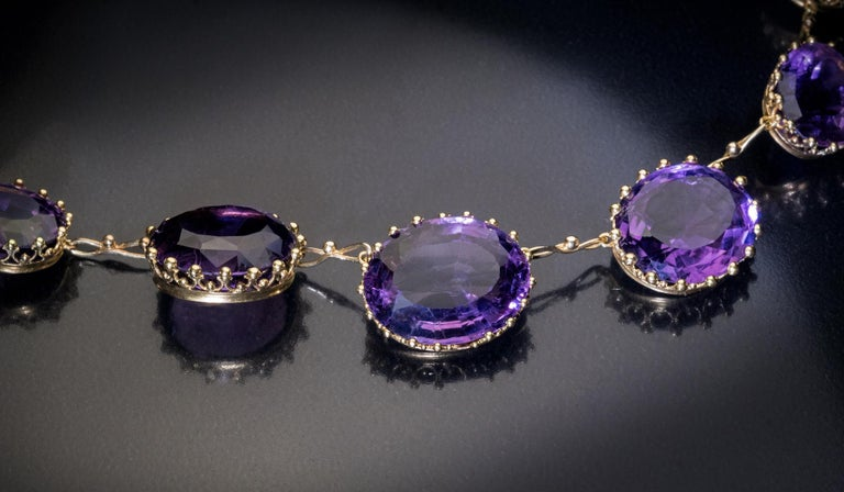 Women's Antique 19th Century Victorian Amethyst Gold Necklace For Sale