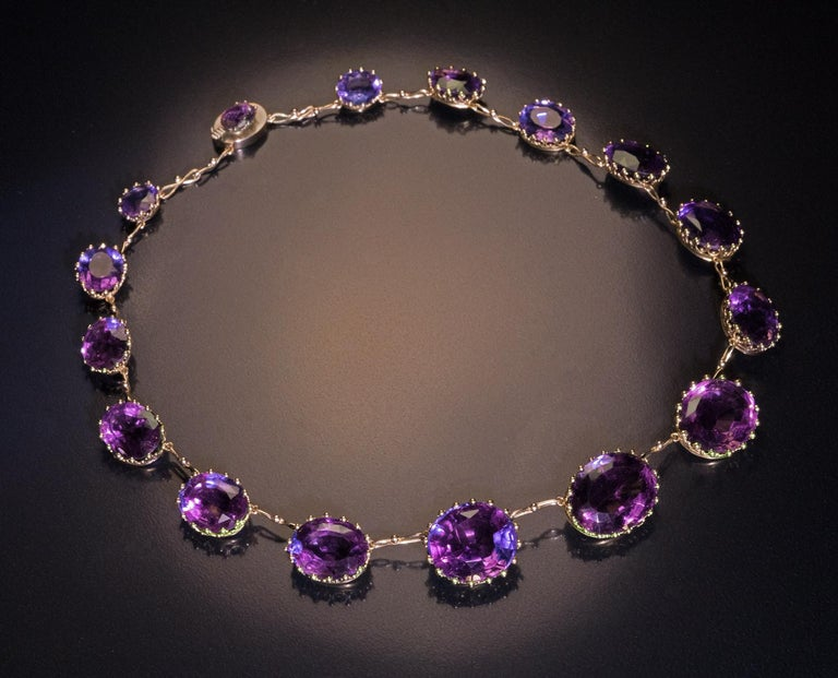 Antique 19th Century Victorian Amethyst Gold Necklace For Sale 1