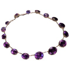 Antique 19th Century Victorian Amethyst Gold Necklace