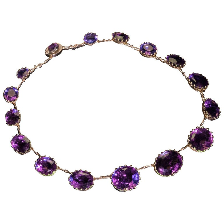 Antique 19th Century Victorian Amethyst Gold Necklace For Sale