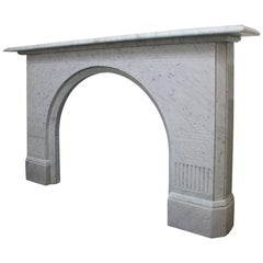 Antique 19th Century Victorian Arched White Marble Fireplace Mantel