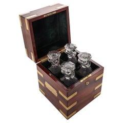 Antique 19th Century Victorian Brass & Mahogany Campaign Decanter Box c1870