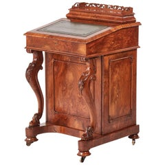 Antique 19th Century Victorian Burr Walnut Freestanding Davenport
