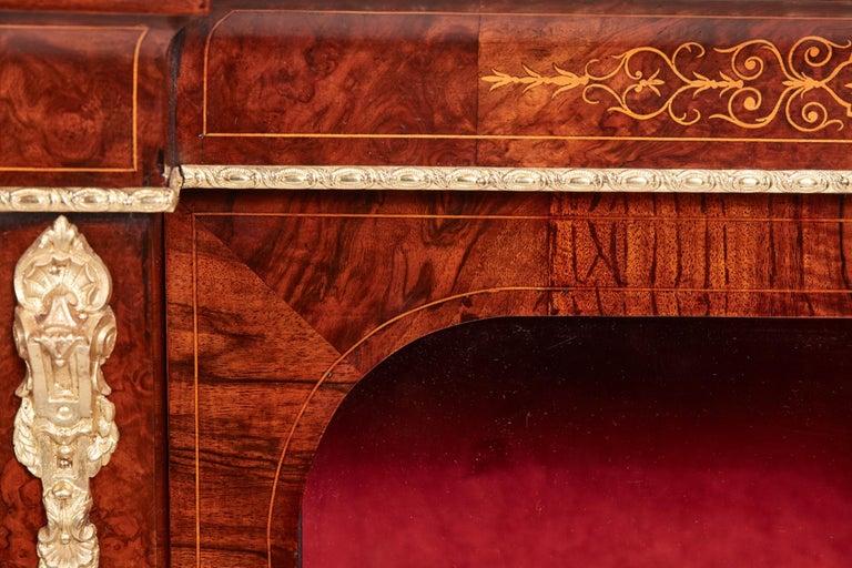 Antique 19th Century Victorian Burr Walnut Inlaid Credenza For Sale 8