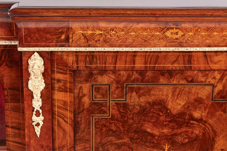 English Antique 19th Century Victorian Burr Walnut Inlaid Credenza For Sale