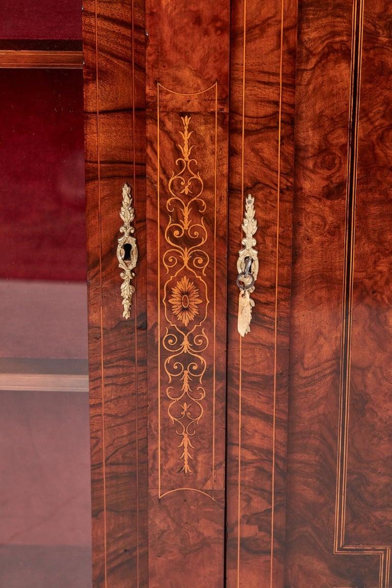 Inlay Antique 19th Century Victorian Burr Walnut Inlaid Credenza For Sale