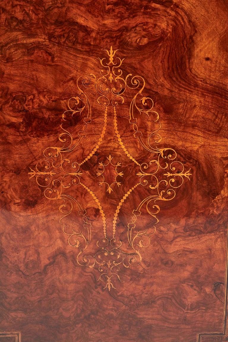 Antique 19th Century Victorian Burr Walnut Inlaid Credenza For Sale 3
