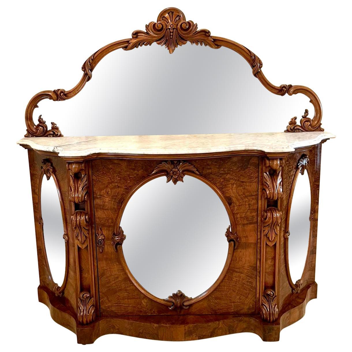 Antique 19th Century Victorian Burr Walnut Mirror Back Credenza