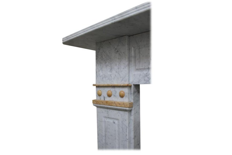 Antique 19th Century Victorian Carrara and Sienna Marble Fireplace For Sale 1