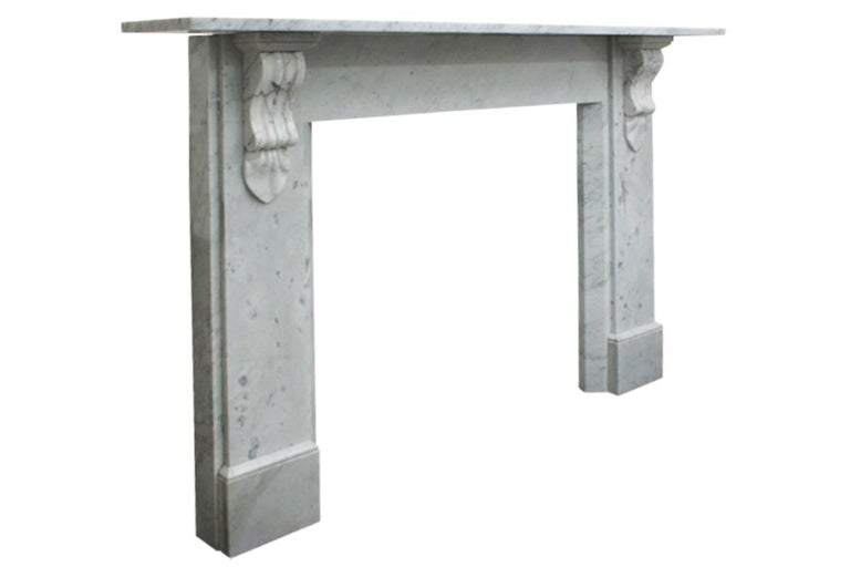 Antique 19th Century Victorian Carrara Marble Fireplace In Good Condition For Sale In Manchester, GB