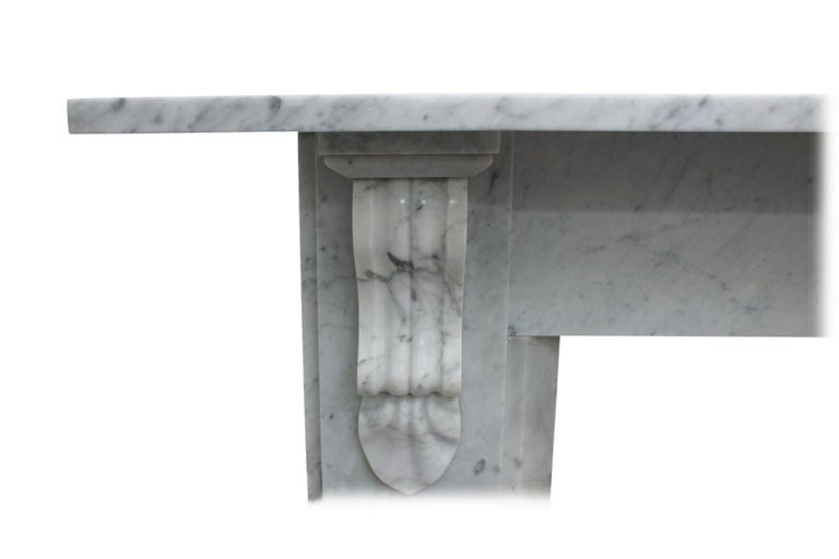 Antique 19th Century Victorian Carrara Marble Fireplace For Sale 1