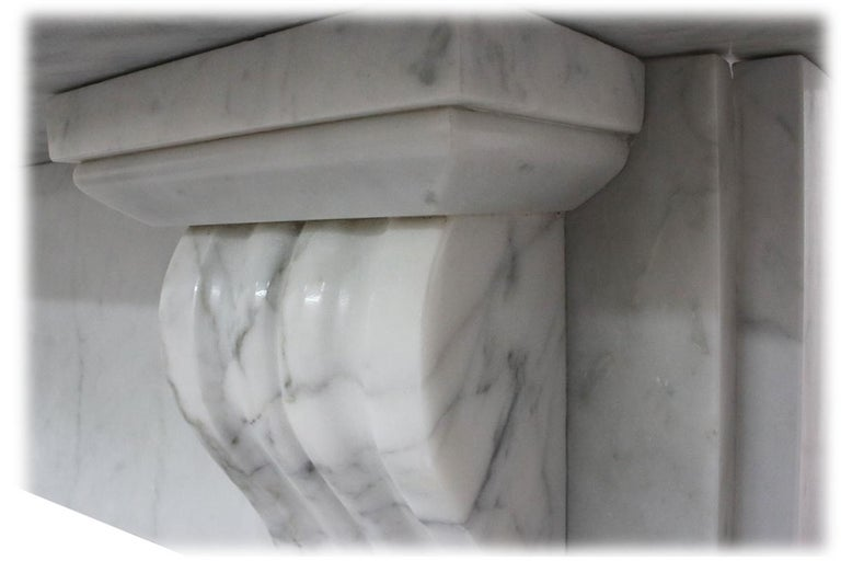 Antique 19th Century Victorian Carrara Marble Fireplace For Sale 2