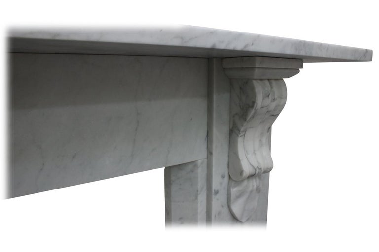 Antique 19th Century Victorian Carrara Marble Fireplace For Sale 3