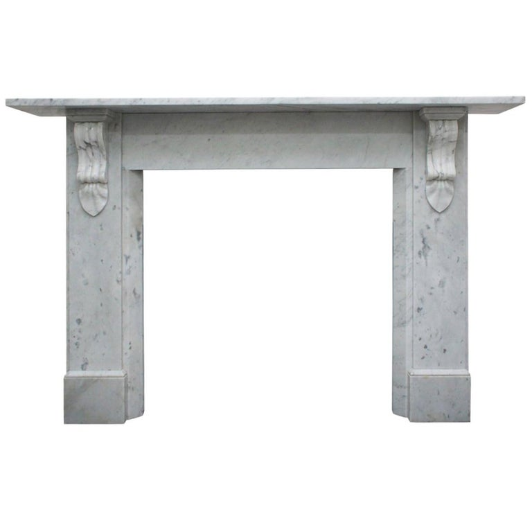 Antique 19th Century Victorian Carrara Marble Fireplace For Sale